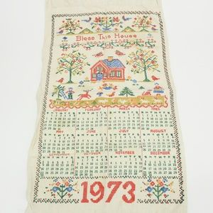 Vintage 1973 Calendar Bless this House Hand Towel